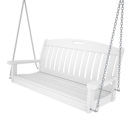 "Polywood NS48WH Nautical 48"" Swing in White - PolyFurnitureStore"
