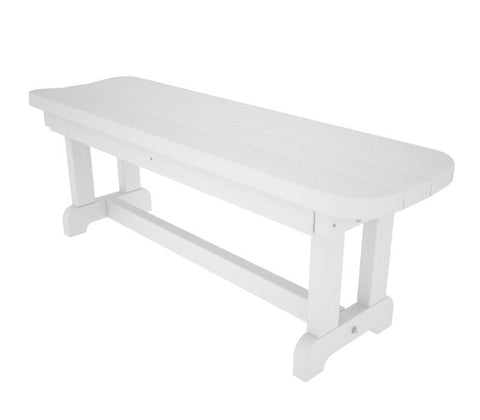 "Polywood PBB48WH Park 48"" Backless Bench in White - PolyFurnitureStore"