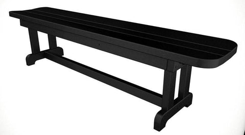 "Polywood PBB72BL Park 72"" Harvester Backless Bench in Black - PolyFurnitureStore"