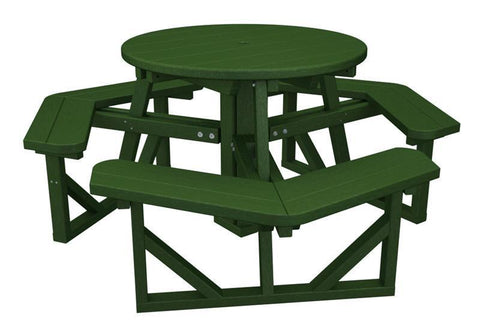 "Polywood PH36GR Park 36"" Round Picnic Table in Green - PolyFurnitureStore"