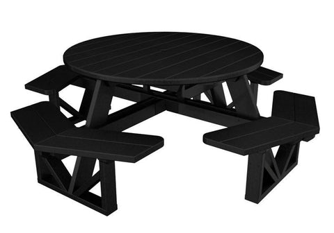 "Polywood PH53BL Park 53"" Octagon Table in Black - PolyFurnitureStore"