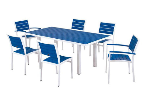 Polywood PWS117-1-10PB Euro 7-Piece Dining Set in Gloss White Aluminum Frame / Pacific Blue - PolyFurnitureStore
