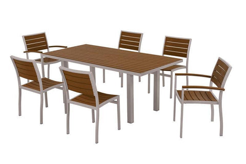 Polywood PWS117-1-11TE Euro 7-Piece Dining Set in Textured Silver Aluminum Frame / Teak - PolyFurnitureStore