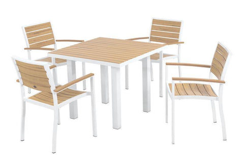Polywood PWS118-1-10NT Euro 5-Piece Dining Set in Gloss White Aluminum Frame / Plastique - PolyFurnitureStore