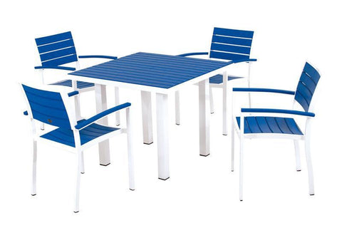 Polywood PWS118-1-10PB Euro 5-Piece Dining Set in Gloss White Aluminum Frame / Pacific Blue - PolyFurnitureStore