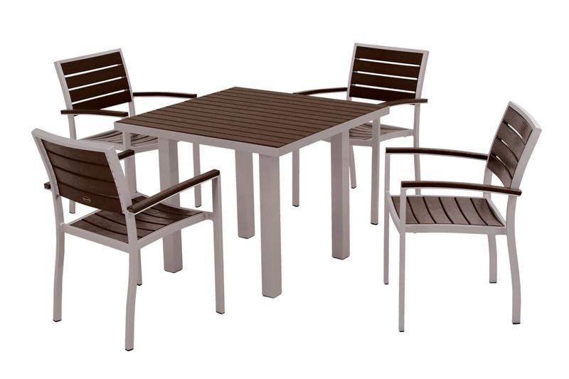 Dining Set Textured Silver Aluminum Frame Mahogany Euro 2193 Product Photo