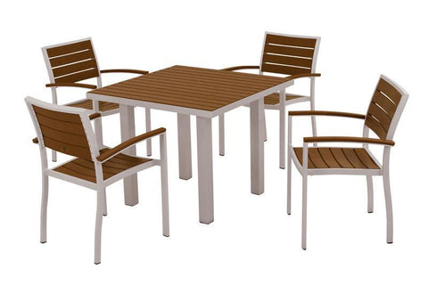 Polywood PWS118-1-11TE Euro 5-Piece Dining Set in Textured Silver Aluminum Frame / Teak - PolyFurnitureStore