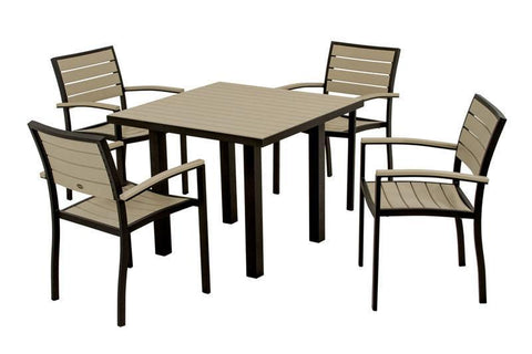 Polywood PWS118-1-12SA Euro 5-Piece Dining Set in Textured Black Aluminum Frame / Sand - PolyFurnitureStore