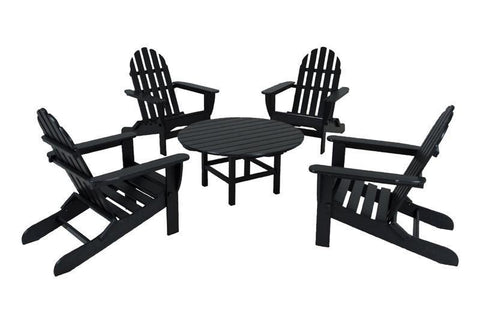 Polywood PWS119-1-BL Classic Adirondack 5-Piece Conversation Group in Black - PolyFurnitureStore