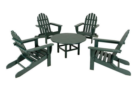 Polywood PWS119-1-GR Classic Adirondack 5-Piece Conversation Group in Green - PolyFurnitureStore