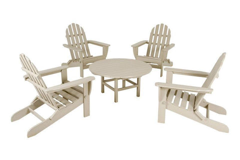 Polywood PWS119-1-SA Classic Adirondack 5-Piece Conversation Group in Sand - PolyFurnitureStore