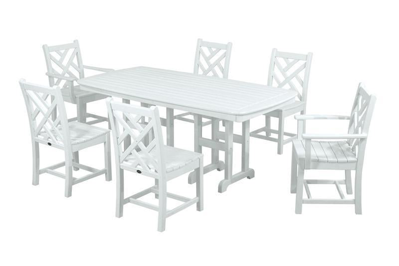 Polywood Dining Set White Chippendale