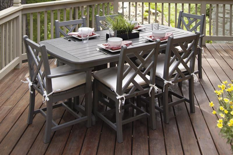 Polywood Dining Set Cushions Slate Grey Birds Eye 773