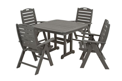 Polywood PWS124-1-GY Nautical 5-Piece Dining Set in Slate Grey - PolyFurnitureStore