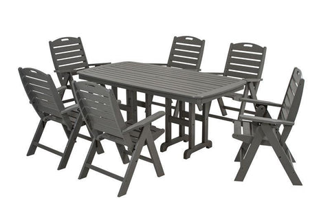 Polywood PWS125-1-GY Nautical 7-Piece Dining Set in Slate Grey - PolyFurnitureStore