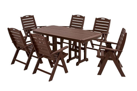 Polywood PWS125-1-MA Nautical 7-Piece Dining Set in Mahogany - PolyFurnitureStore