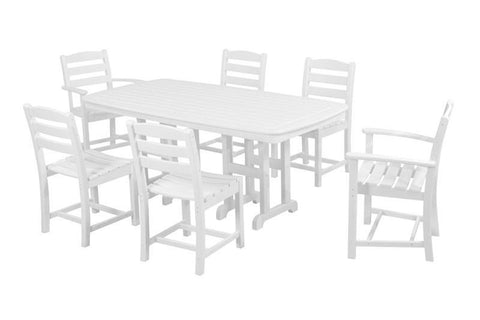 Polywood PWS131-1-WH La Casa Café 7-Piece Dining Set in White - PolyFurnitureStore
