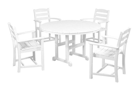 Polywood PWS132-1-WH La Casa Café 5-Piece Dining Set in White - PolyFurnitureStore