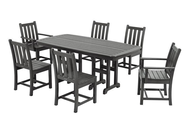 Garden Dining Set Slate Grey Traditional 123 Product Photo