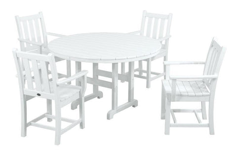 Polywood PWS134-1-WH Traditional Garden 5-Piece Dining Set in White - PolyFurnitureStore
