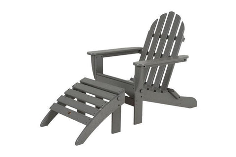 Polywood PWS136-1-GY Classic Adirondack 2-Piece Set in Slate Grey - PolyFurnitureStore