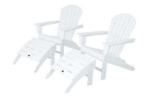 Polywood PWS137-1-WH South Beach 4-Piece Adirondack Set in White - PolyFurnitureStore