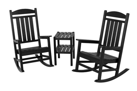 Polywood PWS138-1-BL Presidential 3-Piece Rocker Set in Black - PolyFurnitureStore