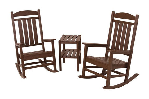 Polywood PWS138-1-MA Presidential 3-Piece Rocker Set in Mahogany - PolyFurnitureStore