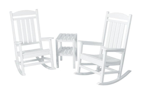 Polywood PWS138-1-WH Presidential 3-Piece Rocker Set in White - PolyFurnitureStore