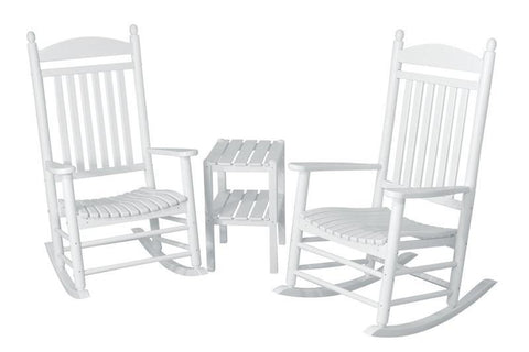 Polywood PWS140-1-WH Jefferson 3-Piece Rocker Set in White - PolyFurnitureStore