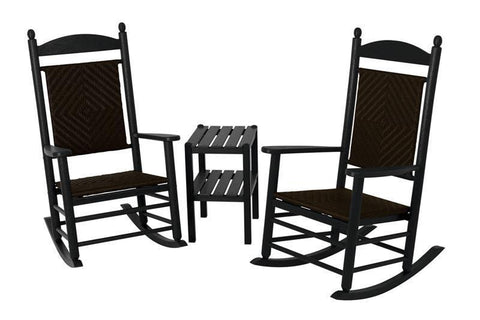 Polywood PWS141-1-FBLCA Jefferson 3-Piece Woven Rocker Set in Black Frame / Cahaba - PolyFurnitureStore