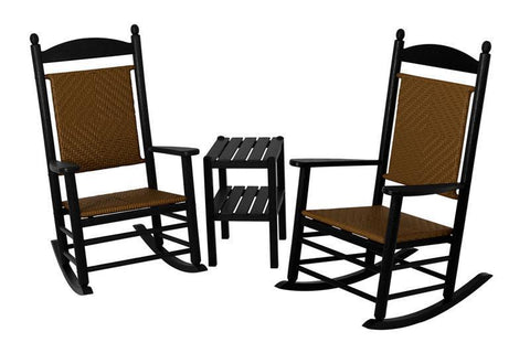 Polywood PWS141-1-FBLTW Jefferson 3-Piece Woven Rocker Set in Black Frame / Tigerwood - PolyFurnitureStore