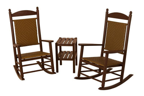 Polywood PWS141-1-FMATW Jefferson 3-Piece Woven Rocker Set in Mahogany Frame / Tigerwood - PolyFurnitureStore