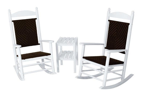 Polywood PWS141-1-FWHCA Jefferson 3-Piece Woven Rocker Set in White Frame / Cahaba - PolyFurnitureStore