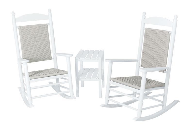 Polywood Woven Rocker Set White Frame White Loom Jefferson
