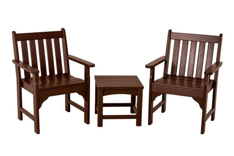 Polywood PWS142-1-MA Vineyard 3-Piece Garden Chair Set in Mahogany - PolyFurnitureStore