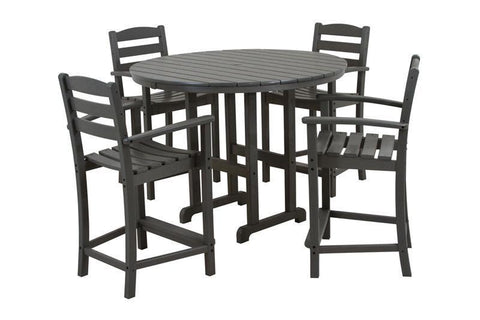 Polywood PWS143-1-GY La Casa Café 5-Piece Counter Set in Slate Grey - PolyFurnitureStore