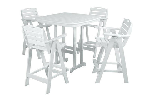 Polywood PWS144-1-WH Nautical 5-Piece Bar Set in White - PolyFurnitureStore