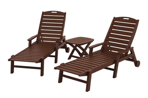 Polywood PWS145-1-MA Nautical 3-Piece Chaise Set in Mahogany - PolyFurnitureStore