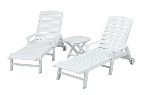 Polywood PWS145-1-WH Nautical 3-Piece Chaise Set in White - PolyFurnitureStore