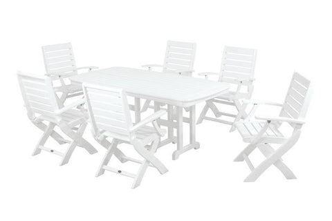 Polywood PWS151-1-WH Signature 7-Piece Dining Set in White - PolyFurnitureStore
