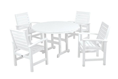 Polywood PWS152-1-WH Signature 5-Piece Dining Set in White - PolyFurnitureStore