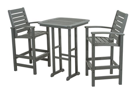 Polywood PWS153-1-GY Signature 3-Piece Bar Set in Slate Grey - PolyFurnitureStore