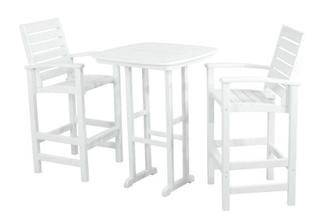 Polywood PWS153-1-WH Signature 3-Piece Bar Set in White - PolyFurnitureStore