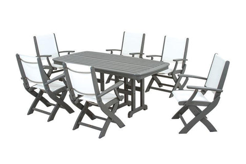 Polywood PWS154-1-GY901 Coastal 7-Piece Dining Set in Slate Grey / White Sling - PolyFurnitureStore