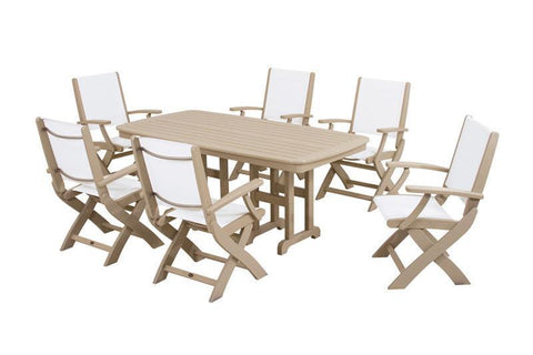Polywood PWS154-1-SA901 Coastal 7-Piece Dining Set in Sand / White Sling - PolyFurnitureStore