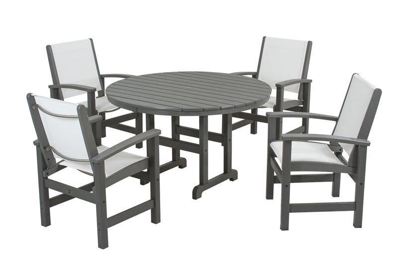 Dining Set Slate Grey White Sling Coastal - Polywood Set Image