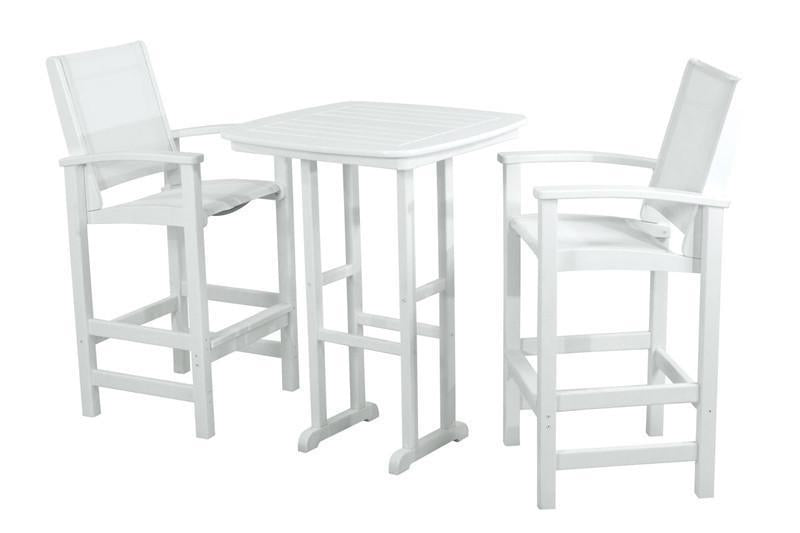 Polywood Bar Set White White Sling Coastal