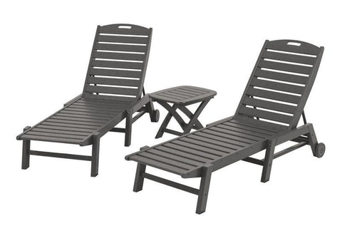 Polywood PWS157-1-GY Nautical 3-Piece Chaise Set in Slate Grey - PolyFurnitureStore