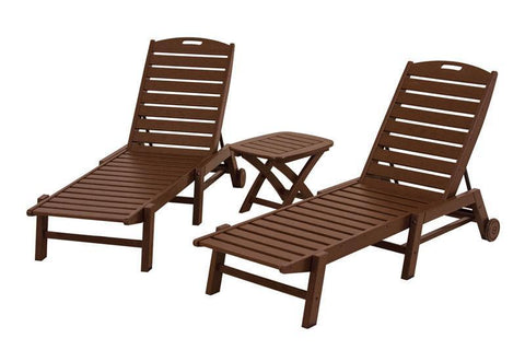 Polywood PWS157-1-MA Nautical 3-Piece Chaise Set in Mahogany - PolyFurnitureStore